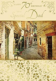 Happy 70th Birthday To A Special Dad Rustic Street Alley Design Card