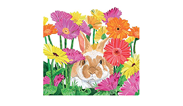 Multicolor 6.5 x 6.5 Paperproducts Design PPD 1332739 Gerbera Bunny Lunch Paper Napkins