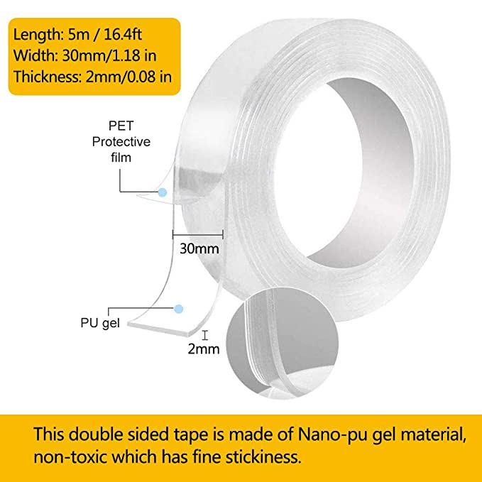 5m Doble Cara de Multifuncional Tape,Doble Cara de Multifuncional Tape,cinta de gel antideslizante,Lavable nano cinta,sin Rastros Cinta Adhesiva,Reutilizable Cinta Adhesiva