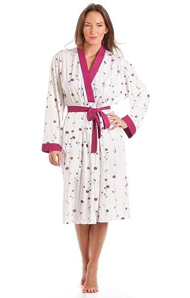 Bata de manga larga con cinturón para mujer, de polialgodón, en tallas 38 – 52 Rosa rosa 40: Amazon.es: Ropa y accesorios