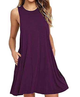 04851b1fb3f4 Summer Beach Dresses for Women Tank Top Bikini Swimwear Cover Up Plain  Pleated Loose - Purple -  Amazon.co.uk  Clothing