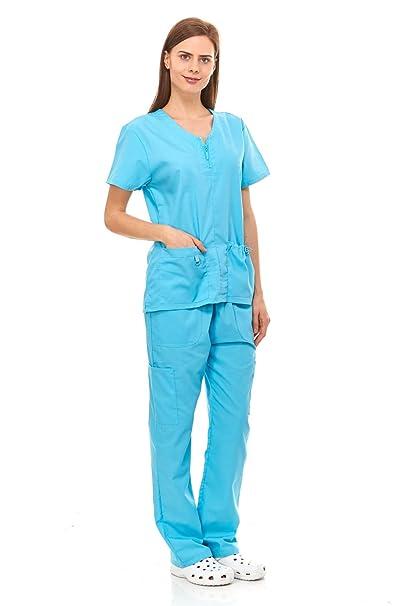 dcecf2dd311 Denice Womens Medical Uniforms Mackenzie Zip Neckline Nurses Scrubs Set  1054 (2X-Large,