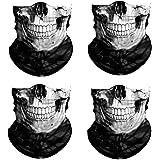 3D Skull Print Face Bandana Neck Gaiter, Reusable Washable Cloth Fabric Tube Scarf, Halloween Balaclava for Men Women