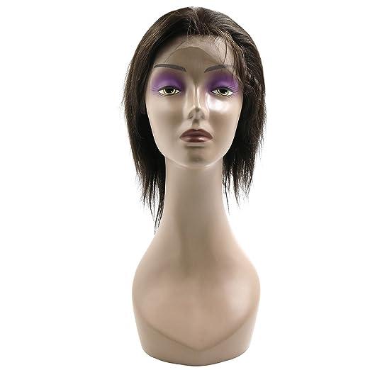 Amazon.com: eDealMax humano pelucas de Pelo derecho 18 del frente del cordón pelucas de Pelo del bebé sin cola 130% Densidad del Pelo brasileño de la Virgen ...
