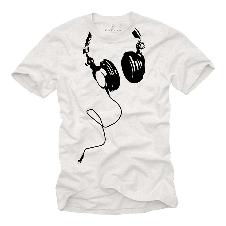 Black t shirt amazon - Music Dj T Shirt For Men Headphones White Size S Xxxl