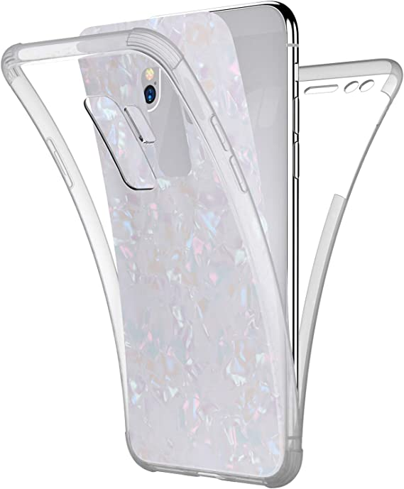 Compatible with Samsung Galaxy S9 Case,PHEZEN Sparkle Bling Crystal Clear Bumper TPU Silicone Rubber Back Cover Slim Fit Shockproof 360 Full Body Protection Case Cover for Galaxy S9,White