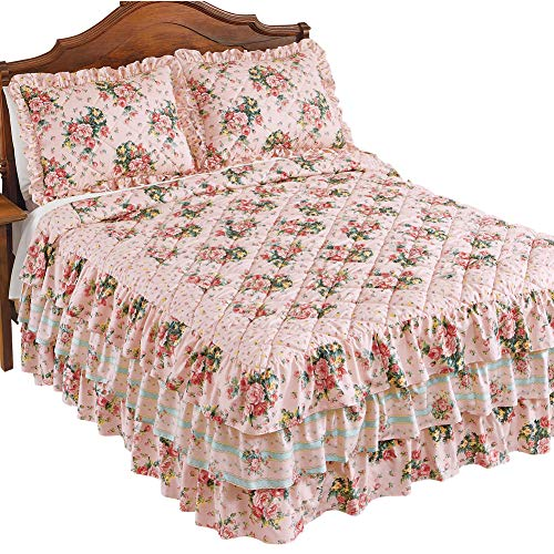 Collections Etc Pink Rose Floral Trellis Bedspread with Quilted Detail and Ruffled Skirt - Bedroom Décor, Pink Multi, Full