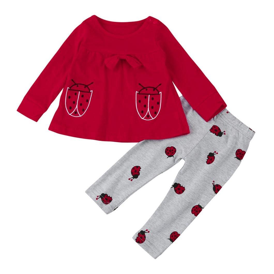 Ouneed bekleidungssets , Neugeborenes Baby Baby Karikatur Marienkäfer Langarmshirts + Pant Outfit Kleider Set 0-AZQ888
