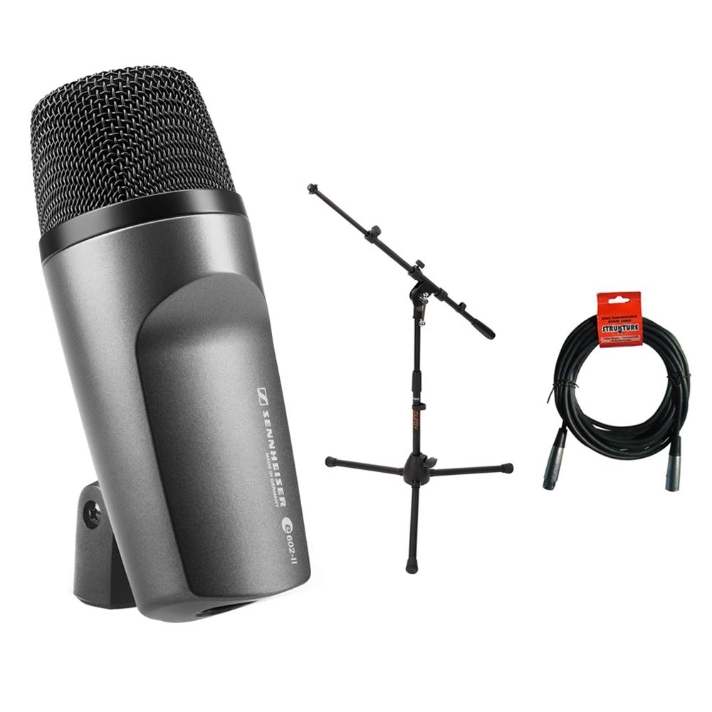 Sennheiser E602 II Cardioid Instrument Microphone with MS-5220T Tripod Microphone Stand & 20' XLR-XLR Cable Bundle by Sennheiser