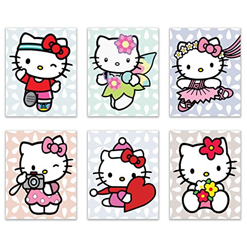 Hello Kitty Yuko Shimizu Wall Art Prints - Set of 6 (8x10) Poster Photos - Cute Bedroom Nursery Decor -