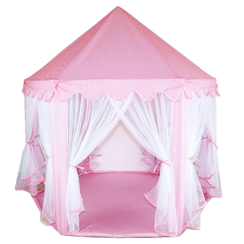 SunbuyHouse - Castillo de Princesa para niños, Ideal como Regalo para niñas, niños, Hexagón, Tienda de campaña, Color Rosa