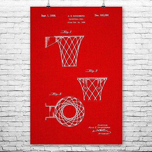 Basketball Goal Poster Print, Basketball Hoop, Gym Teacher, Coach Gift, NBA, Basketball Player, Athletic Sports Red Fabric (9