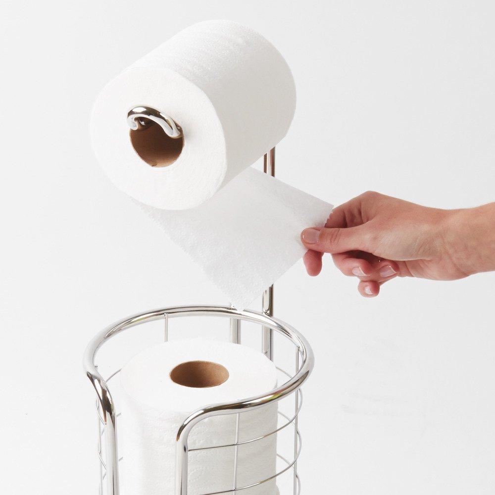 Porta carta igienica portante in acciaio argento InterDesign Forma Ultra Portarotolo carta igienica senza montaggio