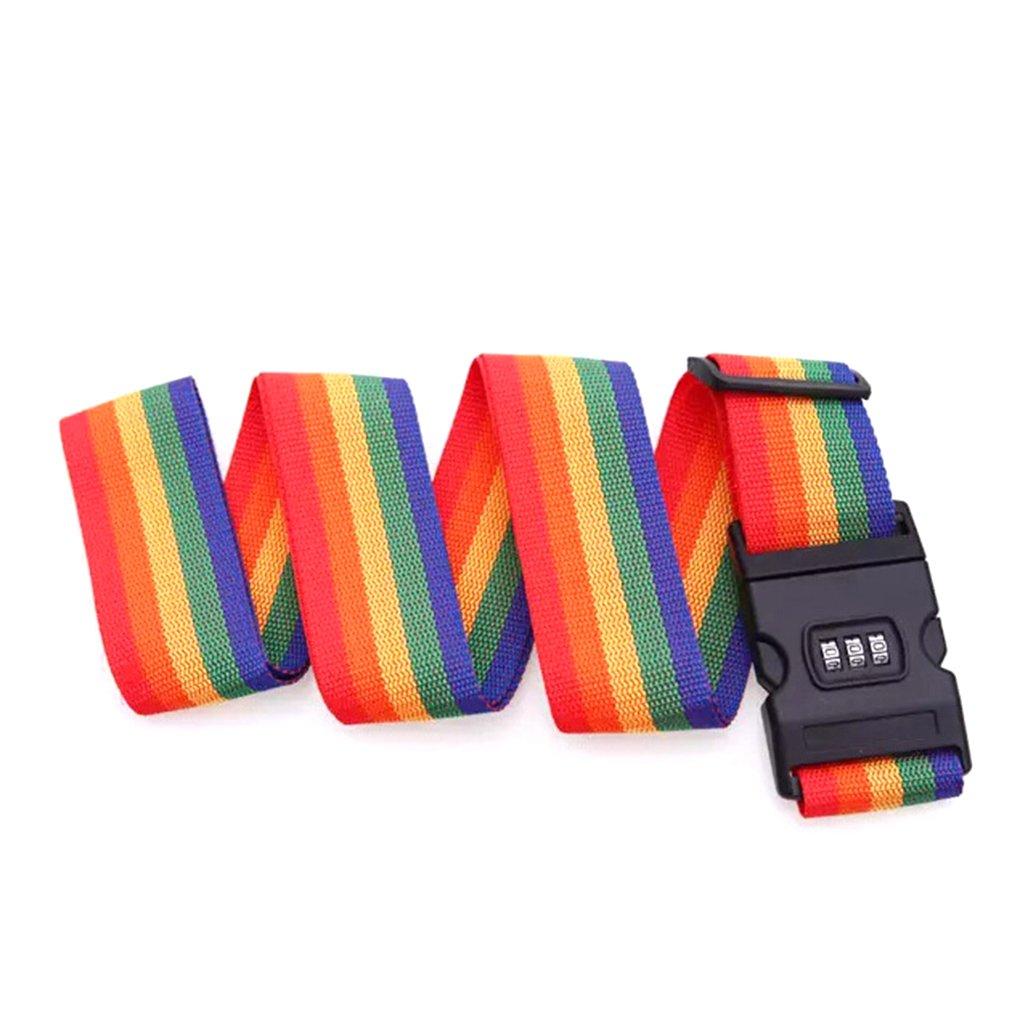 Babysbreath17 Arc-en-couleur bagages réglable Emballés Sangle de sécurité Valise Password Lock Protection Voyage extérieure