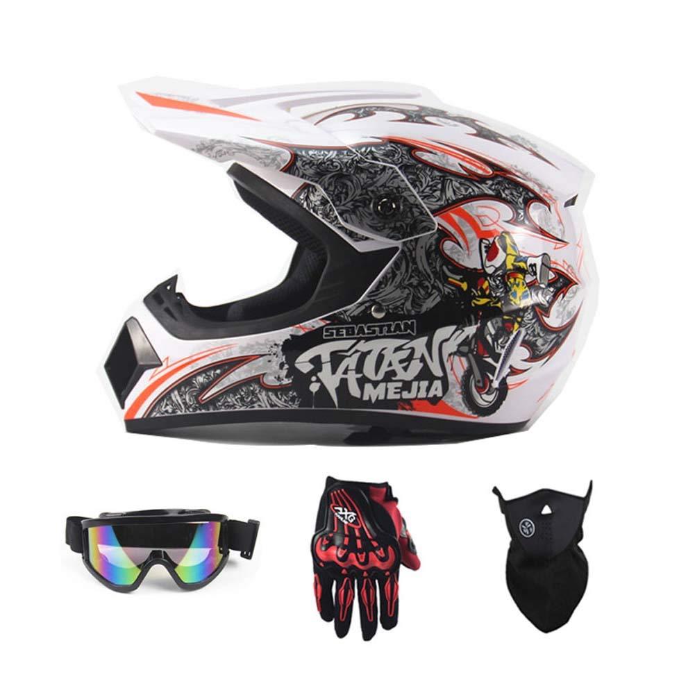MRXUE Off-Road Anti-Collision Motorbike Helmet Warm, Full Face Helmet Off-Road Anti-Collision Helmet Kit Adult Highway Helmet Give Goggles Bicycle Gloves Dust Mask Locomotive,XL(59~60Cm)