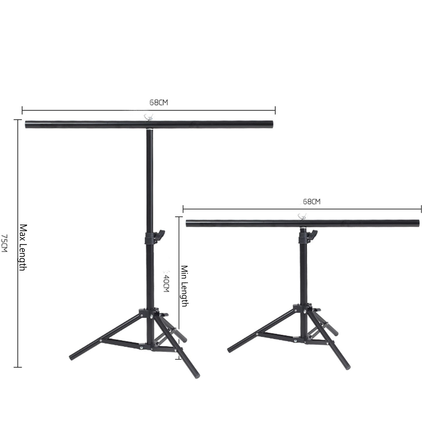 Selens 30 Inch Retractable Portable T-Shape Support Stand with Bracket for Background Backdrop
