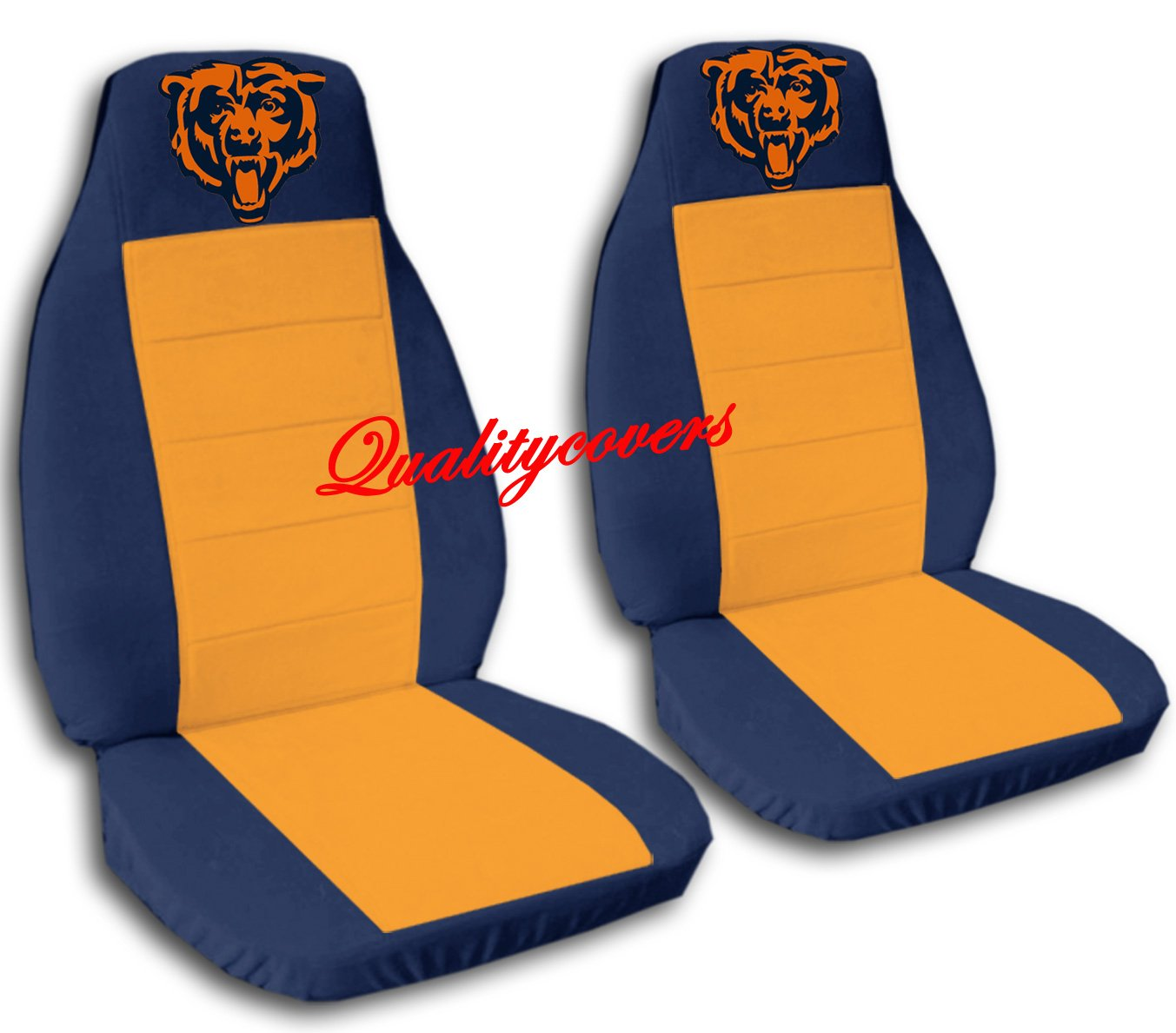 2 Navy Blue and Orange Chicago seat covers for a 2007 to 2012 Ford Fusion. Side airbag friendly.