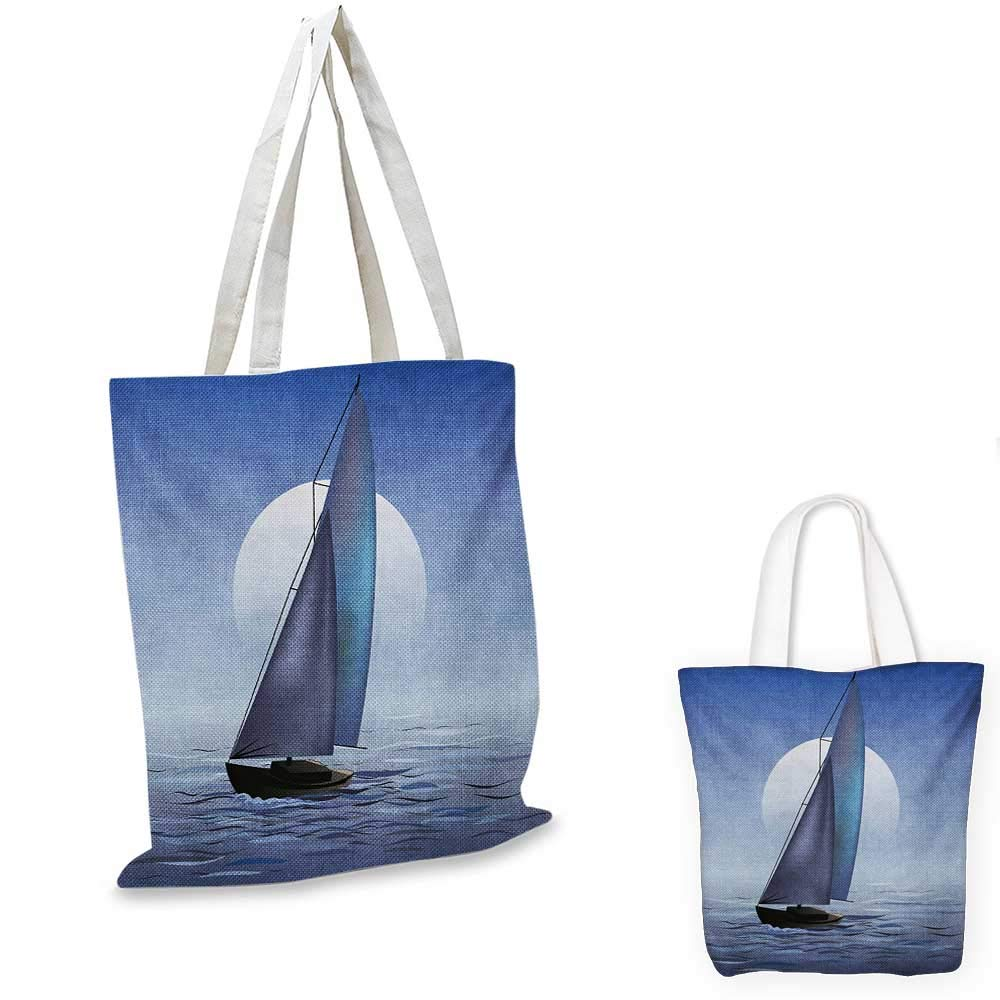 12x15-10 Nautical canvas messenger bag Sailing Yacht in the Morning Time on Tranquil Seascape Cloudy Sky Peaceful Marine Image canvas beach bag Blue