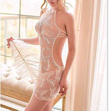 68e2d0d91bd Amazon.com  TOMORI Womens See Through Lingerie Feather Lace Maid Apron  Nightie Halter Backless Lingerie  Clothing
