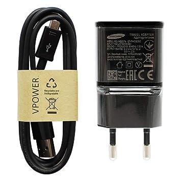 Samsung – Cargador Original Cargador rápido EP de ta20ebe Color Negro Incluye Vpower Micro USB Cable de Carga Cable de Carga rápida Galaxy S5 Mini S6 ...