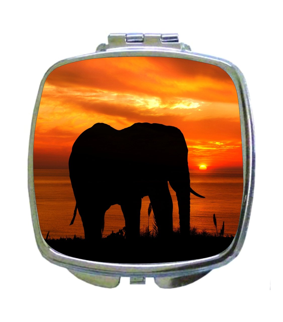 Nature Jungle Sunset Animal Wildlife Elephant Silhouette - Compact Square Makeup/Face Mirror