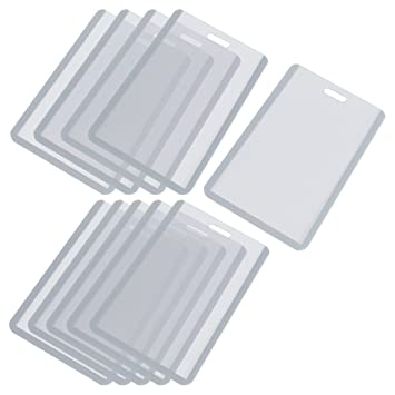 Office workers gray clear plastic vertical business id badge card office workers gray clear plastic vertical business id badge card holder 10 pcs colourmoves