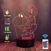 LED Lamp 3D Game Super Mario Speelgoed Dinosaurus Yoshi Nachtlampje, Thuis Slaapkamer Touch Remote Lamp met 16…