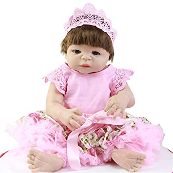 Suave 23 pulgadas 57 Reborn muñecas de bebé con mohair o pelo sintético Vestido Falda rosa
