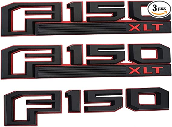 Black Red 2Pcs F150 LARIAT Emblems,Origianl Size Genuine Parts F150 LARIAT Fender Decal Drivers Side Rear Tailgate Nameplates Badge Stickers Replacement for 2015-2019 F-150