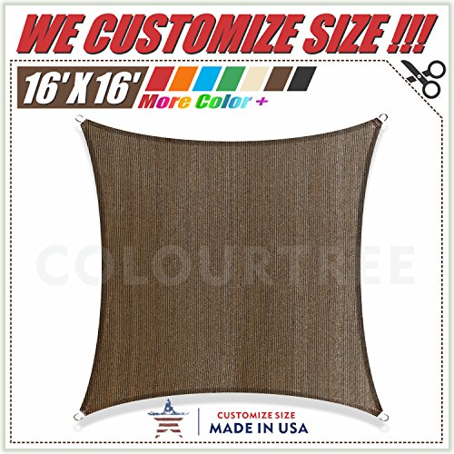 ColourTree 16' x 16' Brown Sun Shade Sail Square Canopy - UV Resistant Heavy Duty Commercial Grade Outdoor Patio Carport (Custom Size Available)