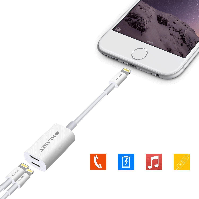 iPhone splitter & Dual adattatore Lightning, 2 in 1 Dual Lightning audio per cuffie e ricarica adattatore per IPHONE7/IPHONE8/Iphonex supporto microfono e controllo musicale SHENKEY adpater3
