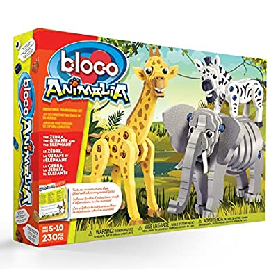 Bloco Toys Zebra, Giraffe & Elephant | STEM Toy | Zoo Wildlife Animals | DIY Educational Building Construction Set (230 Pieces): Toys & Games