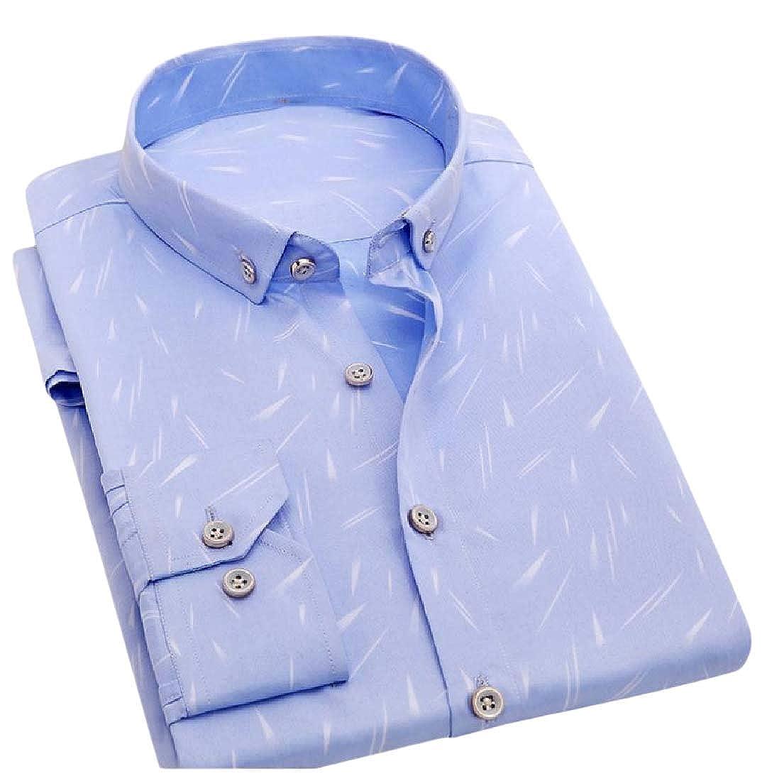 YUNY Mens Vogue Slim Buttoned Thin Floral Print Long Sleeve Shirt 12 3XL