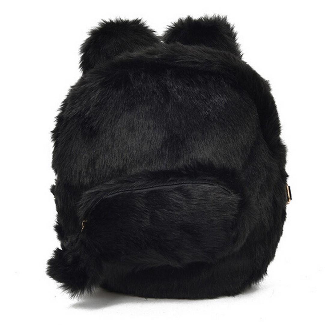 NxdaキュートPlush Earsレディースガールズ学生バッグLovely Miniバックパックバッグ 19*11*18cm ブラック NXDA  ブラック B07BKTPCZ7