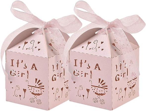 50 Piezas Rosado Caja Bombones Regalo pequeña Bautizo para Niña, Exquisito Caja Caramelos con patrón Coche de bebé y cintas elegantes - 【 5 * 5 * 8cm 】 Baby Shower Decoración de Escritorio: Amazon.es: Hogar