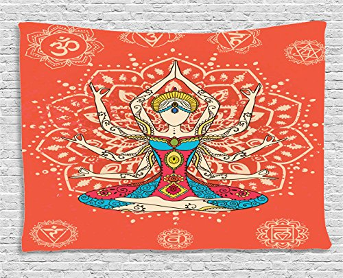 Ambesonne Yoga Tapestry Zen Decor, Yoga Technique with Ethnic Costume Insignia Zen Discipline Your Body and Mind Artprint, Bedroom Living Room Dorm Art Wall Hanging, 80 X 60 Inches, Cream (80's New Romantic Costumes)