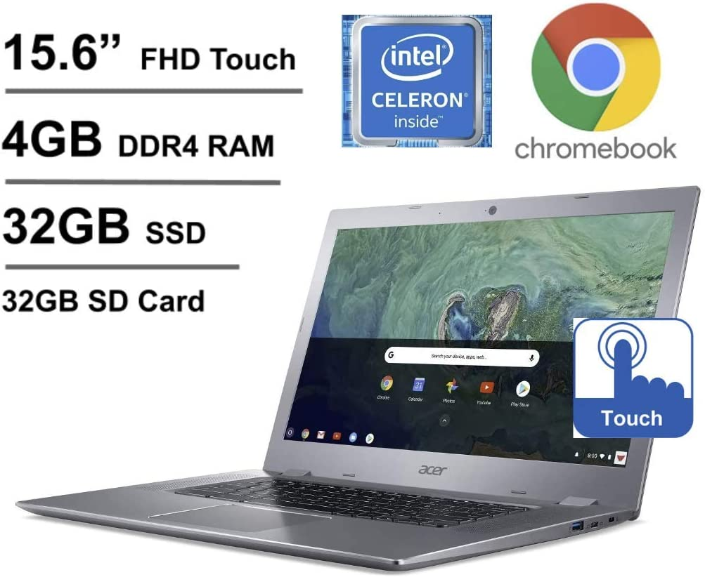 2020 Newest Acer Chromebook 15.6 Inch Full HD Touch Laptop, Intel Celeron N3350 up to 2.4 GHz, 4GB RAM, 32GB eMMC + Oydisen 32GB SD Card, WiFi, Bluetooth, Webcam, Chrome OS (Google Classroom Ready)