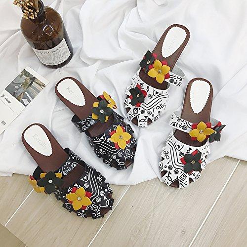 guapos Nueva de Respirables Mujer Zapatos de Mujeres Baotou de Moda Mitad Simples Zapatillas ITTXTTI Fuera Vacío Plana literarios Arrastre B Ropa la Zapatos EP4Fw1aaq