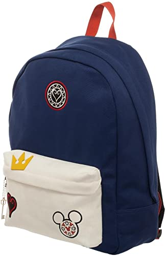 Kingdom Hearts Bag – Navy Blue and Whte Backpack with Kingdom Hearts Patches