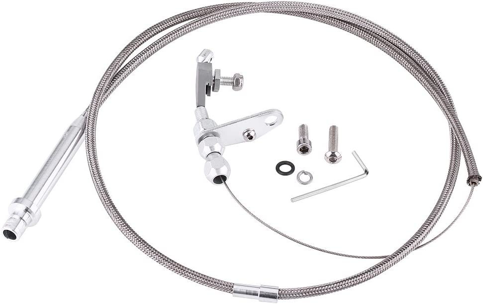 Keenso Stainless Steel Braided Transmission Stainless Kickdown Cable Assembly Detent Kickdown