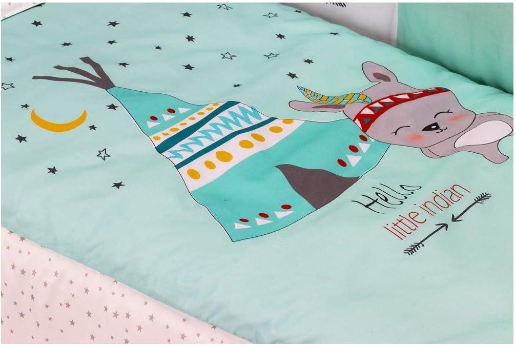 Cuna Lovely Premium con Textil Tipi Oso Menta