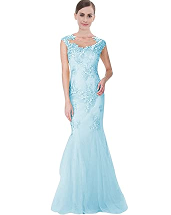Lily Wedding Womens Lace Tulle Mermaid Prom Dresses 2018 Long Applique Formal Evening Party Ball Gowns