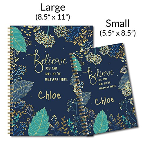 "Believe You Can Personalized Notebook/Journal, Laminated Soft Cover, 120 College Ruled or Dot Grid pages, lay flat wire-o spiral. Multiple sizes, 8.5"" x 11"", 5.5"" x 8.5"". Made in the USA Photo #3"