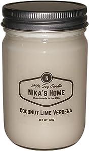 Nika's Home Coconut Lime Verbena Soy Candle - 12oz Mason Jar