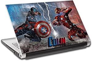 "Captain America Iron Man Personalized LAPTOP Skin Vinyl Decal Sticker NAME L228, 14"""
