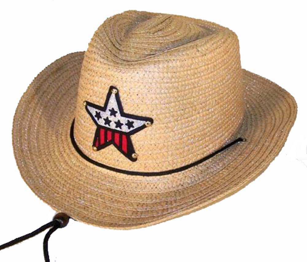 12 Bulk Lot Assorted Colors Kids Straw Western Cowboy / Cowgirl Hat with Americian Flag Star Emblem Patch -Childrens Size by Novelties company (Image #7)