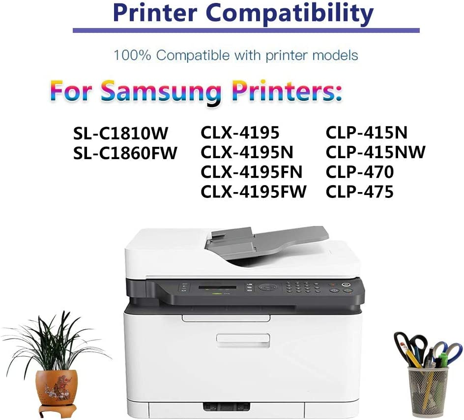 Compatible High Yield CLT-K504S CLT504S K504S Laser Printer Toner Cartridge use for Samsung SL-C1810W SL-C1860FW CLX-4195 CLP-415NW CLP-470 Printer Black 2-Pack Up to 2,500 Pages per Cartridge