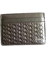 Michael Kors Logo Embossed Men's Leather Card Case Wallet Brown