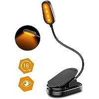 Cocoda Lampka do czytania z zaciskiem, z ochroną oczu, światło w kolorze bursztyn, ładowana przez USB, 1600 K, 4 diody…