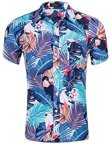 (XI PENG Men's Tropical Short Sleeve Floral Print Beach Aloha Hawaiian Shirt (Parrot Bird Purple Palm, Large))